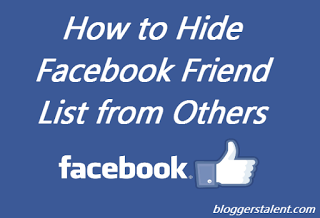 Hide Facebook Friend List from Others