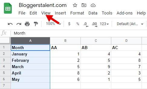 How to freeze column in google sheets 2