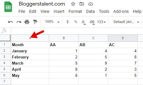How to freeze column in google sheets